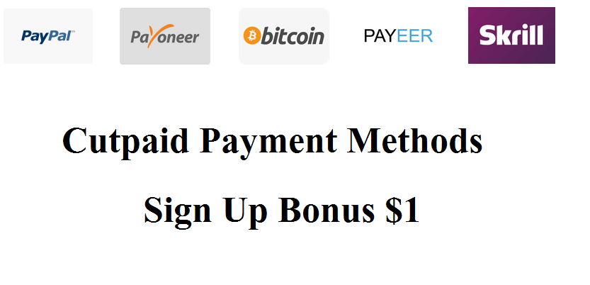 Cutpaid Shorten Url Sign Up Bonus for $ 1